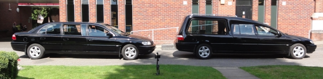 Photo of Vauxhall Omega limousine and hearse